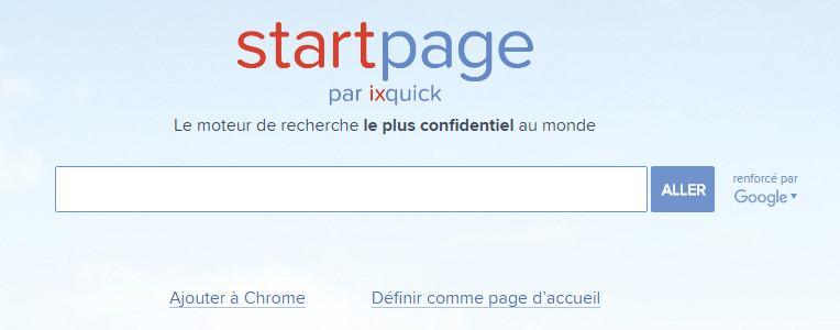 Moteur de recherche StartPage par Ixquick