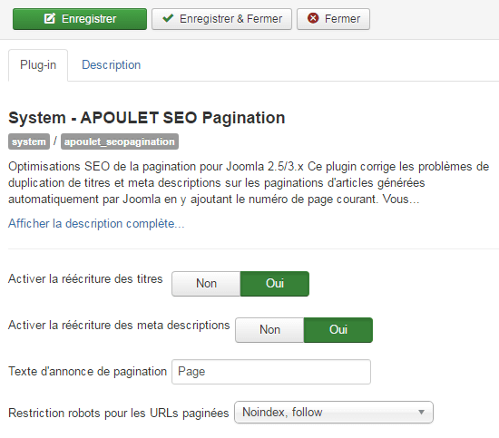 APOULET SEO Pagination - Screenshot Admin - Joomla! 3.6