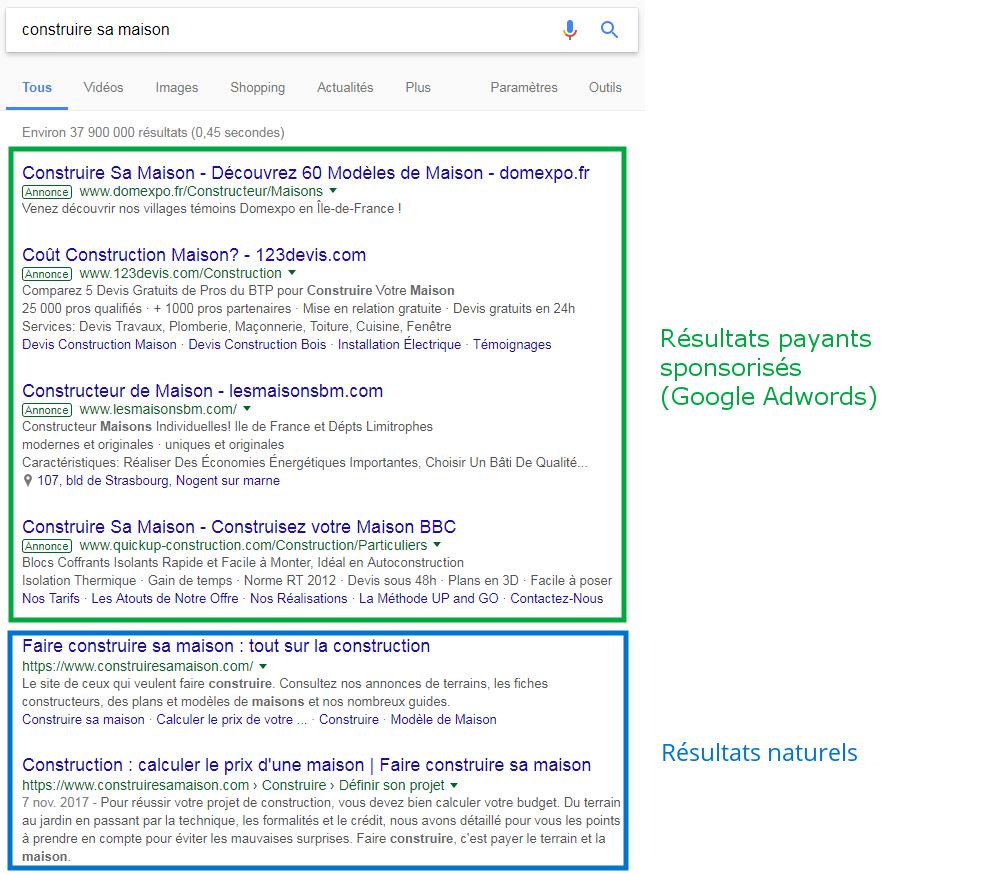 Résultats Google sponsorisés (Adwords) et naturels (SEO)