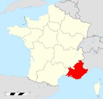 Carte de France - Provence Alpes Côte d'Azur